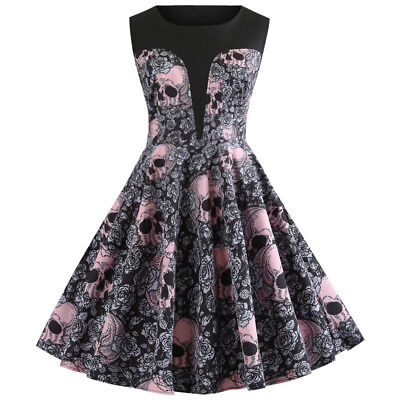 Women Skull Printed 50s 60s Rockabilly Swing Flared Vintage Pin Up Party Dress