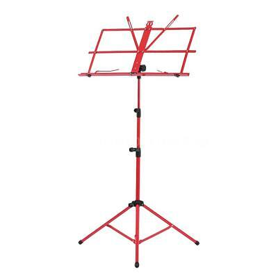 Adjustable Folding Sheet Music Tripod Stand Holder Heavy Duty Red+Case Hot F1L6
