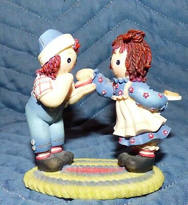 "Enesco Raggedy Ann & Andy Figurine "" Friends Like You Are A Special Treat """