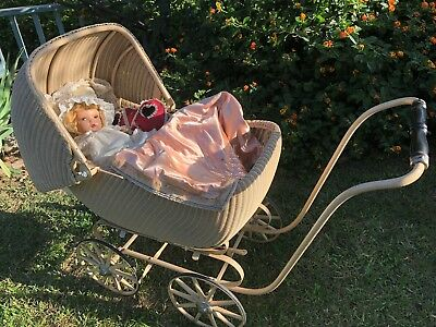 Antique Pram Baby Buggy Full Size-Wicker -Vintage Horseman Doll included