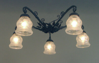 "A French Wrought Iron Flush Mount Ceiling Fixture with Iridescent ""Lady"" Shades"