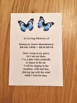 10 Personalised  Forget-Me-Not Seeds Funeral, Memorial, In Memory of, Butterfly