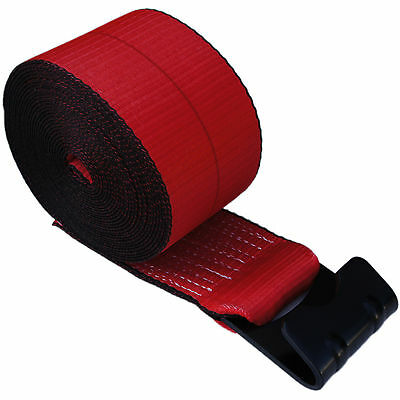 """5 RED 4"""" x 30' Winch Straps Flat Hook Flatbed Truck Trailer Tie Down Strap FH"""
