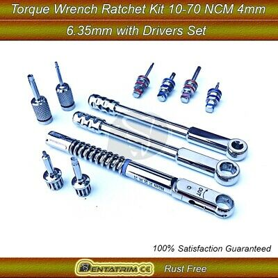 Dental Implant Torque Wrench Ratchet Kit 10-70NCM 4.0mm&6.35 with Drivers Set