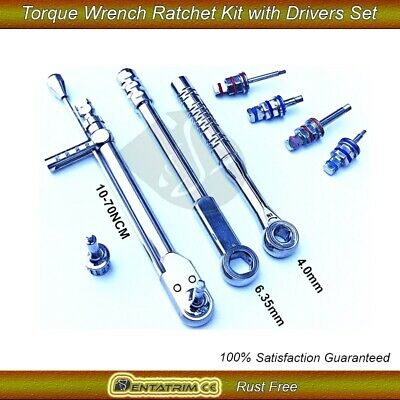 Dental Implant Torque Wrench Ratchet Kit 10-70NCM 4.0mm&6.35 with Drivers