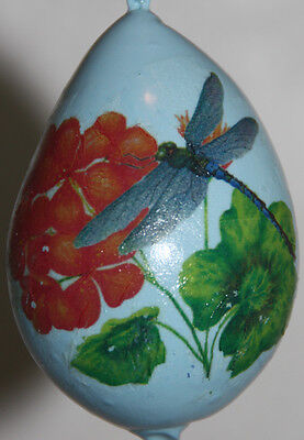 gourd ornament with dragonfly and geranium