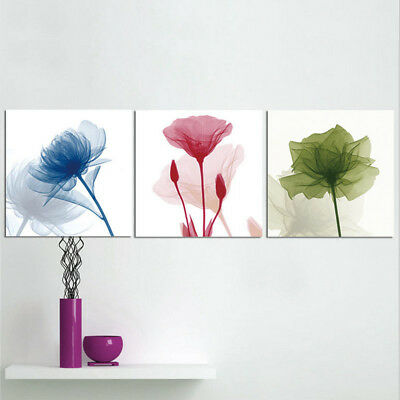 3pcs Flowers Painting Canvas Home Wall Decor Art Abstract Picture Unframed