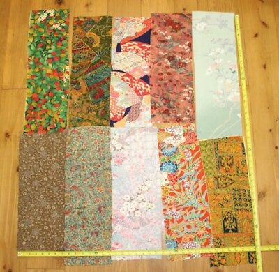 Vintage Japanese Silk Smooth Kimono Fabric Lot 10 Pieces Remnants Bundle