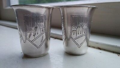 Antique 84 Silver Russian vodka cups Stamped RARE MATCHING