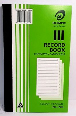 10 Pack Olympic 705 Record Book Carbonless Triplicate - AO140858