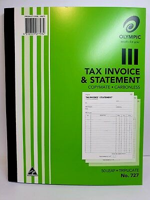 5 Pack Olympic #727 Triplicate Tax Invoice & Statement Book 50 Leaf - SP07793