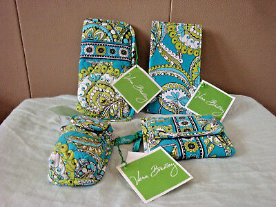 Vera Bradley Peacock~Lot of 4~CheckbookCover/Wallet/Eyeglass Case/Phone Case NWT