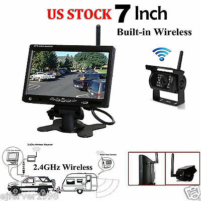 """Wireless IR Night Vision Rear View Backup Camera+7""""Monitor for RV Truck/Trailer"""