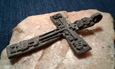 "Antique Large ""old Believers"" Russian Orthodox ""skull"" Cross Psalm 68 ""exorcism"""