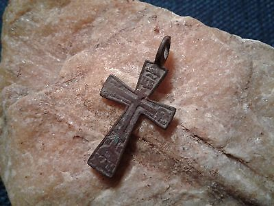 "ANTIQUE 17-19th CENT. EASTERN ORTHODOX CROSS PENDANT ""ALL-SEEING EYE"" PSALM 68"
