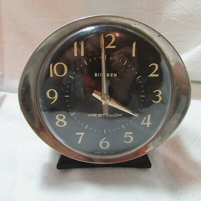 Vintage Westclox Big Ben Wind-Up Metal Chrome Alarm Clock, Parts or Repair