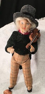 Antique Edwardian GERMAN BISQUE FIDDLER DOLL Violin All Handmade! Early 1900s