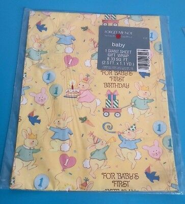 Vintage Gift Wrapping Paper Baby 1st Birthday 1 Giant Sheet 833 Sq Feet