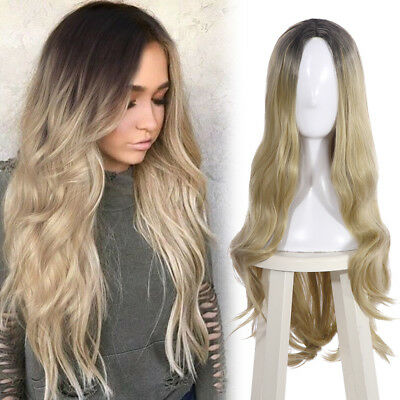 "29"" Long Curly Wavy Gradient Blonde Ombre Women Fashion Party Hair Cosplay Wig"