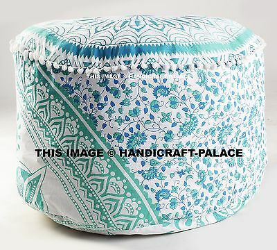 Pom Lace Pouf Ottoman Indian Round Pouffe Foot Stool Floor Pillow Ethnic Decor