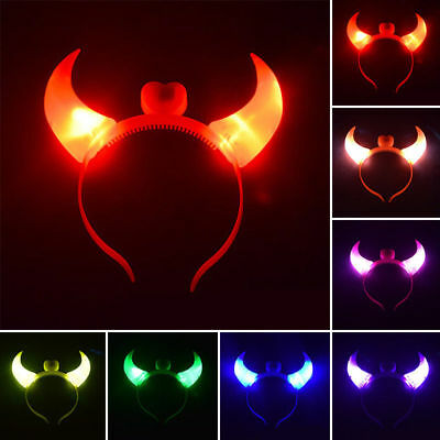 Flashing LED Devil Horn Light Up Headband Halloween Party Overhead Decor 4 Color