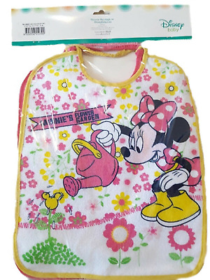 6 BAVETTE DISNEY MINNIE TOPOLINA BIMBA COLORATE SPUGNA PLASTIFICATA ASILO 34x26