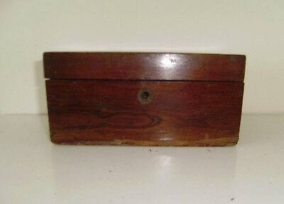 Rosewood Box Tea Caddie Antique Fitted Lock No KeyCompartments For Restoration