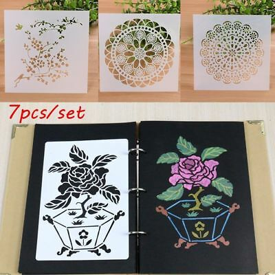 7PCS DIY Wall Painting Embossing Template Layering Stencils Scrapbooking Crafts