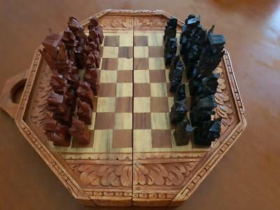 Tribal Hand Carved Wooden Chess Set