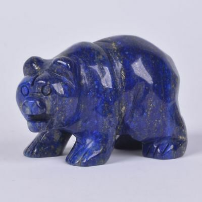 52mm Natural Lapis Hand Carved Healing Bear Statue Crafts Home Decor 2""