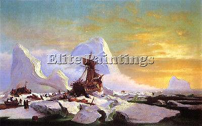 Bradford William Crushed In The Ice Artist Painting Oil Canvas Repro Art Deco