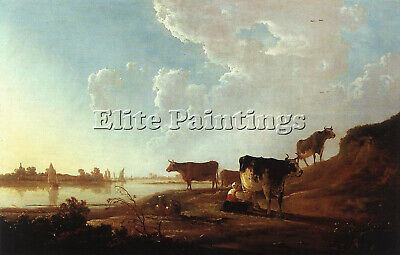 Cuyp Aelbert River Scene Milking Woman Artist Painting Oil Canvas Repro Art Deco