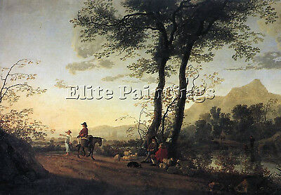 Cuyp Aelbert A Road Near A River Artist Painting Oil Canvas Repro Wall Art Deco