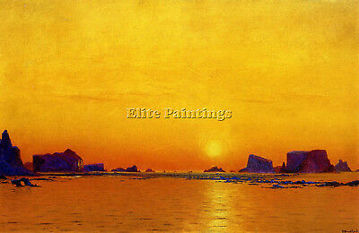 Bradford William Ice Floes Under Midnight Sun Artist Painting Oil Canvas Repro