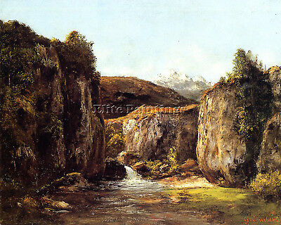 Courbet Gustave Landscape Source Among Rocks Doubs Artist Painting Oil Canva Art
