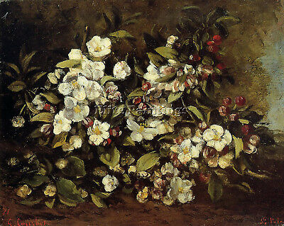 Courbet Gustave Flowering Apple Tree Branch Artist Painting Oil Canvas Repro