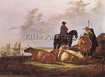 Cuyp Aelbert Peasants Four Cows River Merwede Artist Painting Oil Canvas Repro
