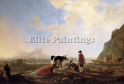 Cuyp Aelbert Herdsmen With Cows Artist Painting Reproduction Handmade Oil Canvas