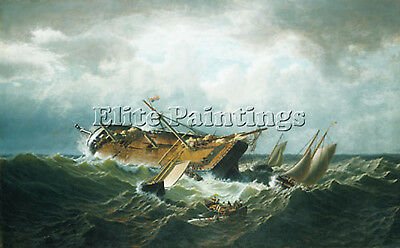 Bradford William Shipwreck Nantucket Artist Painting Oil Canvas Repro Art Deco