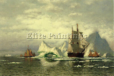 Bradford William Arctic Whaler Homeward Bound Among Icebergs Artist Painting Oil