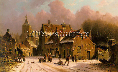 Eversen Adrianus A Village In Winter Artist Painting Reproduction Handmade Oil