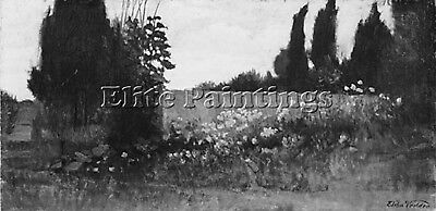 Vedder Elihu Cypress And Poppies Artist Painting Oil Canvas Repro Wall Art Deco