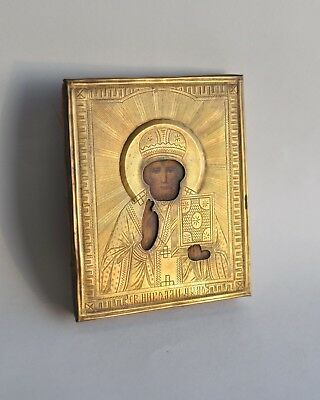 Beautiful Antique Russian Orthodox Icon Saint Nicholas. 19 th century.