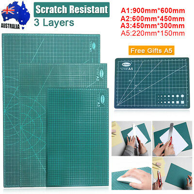 A1 A2 A3 3-Ply Thick PVC Self Healing Cutting Mat 2 Side Print Grid Free Gift A5