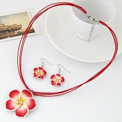 Charm Plumeria Polymer Clay Flower Pendant Necklace Earrings Jewelry Sets Gift