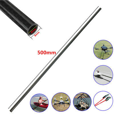 2pcs 8MM OD x 6MM ID Carbon Fiber Tube 3k 500MM Long (Roll Wrapped) Carbon Pipe