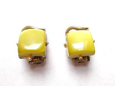 Vintage 1940's Mustard Yellow / Olive Green Thermoset Lucite Clip On Earrings