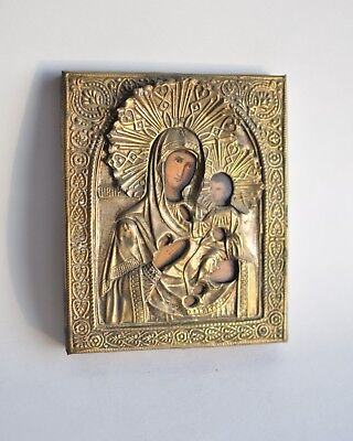 Beautiful Antique Russian Orthodox Icon Tikhvin Mother of God. 19 th century.