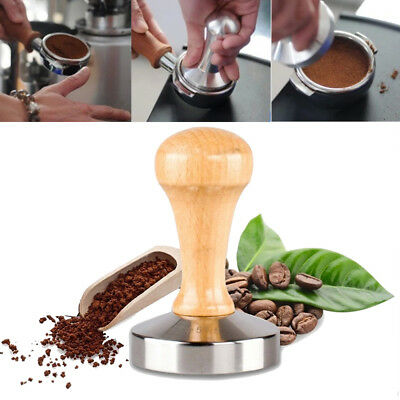 Wood Coffee Tamper Stainless Steel Polished Tampa Tamp Espresso Barista 57.5mm