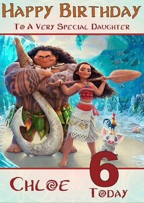 personalised birthday card Moana any name/age/relation.